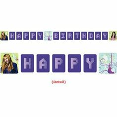"""Hannah Montana Both Worlds Letter Banner by Hallmark Marketing Corporation. $3.99. Best Quality Available. Coordinates with our other Solid and Print Party Supplies. Hannah Montana Birthday Banner includes one plastic banner measuring 8 ft. 5"""" long and 8"""" tall. The design features both Miley Stewart and Hannah Montana and reads """"Happy Birthday"""". Each individual letter measures approximately 8"""" x 7""""."""