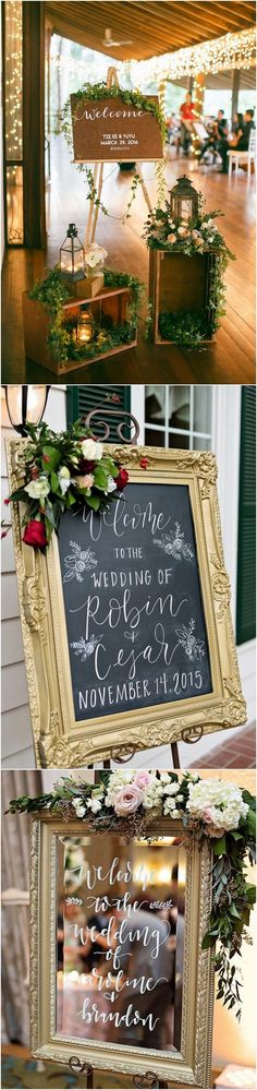 rustic wedding welcome sign ideas for reception entrance