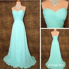 Mint strapless chiffon corset formal prom gown evening bridesmaid wedding dress
