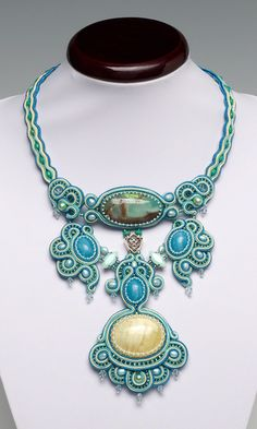 Bib-Style Necklace with Gemstone Beads and Cabochons, Cultured Freshwater Pearls and Seed Beads - Fire Mountain Gems and Beads