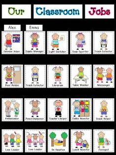 Back to School - Instant Job Chart Kindergarten Job Chart, Preschool Classroom Jobs, Preschool Job Chart, Classroom Job Chart, Classroom Helpers, Preschool Graduation, Free Preschool, Preschool Learning, Preschool Activities