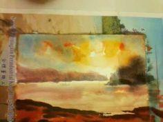 690 Art Class - Sunset wet on wet watercolour.3gp