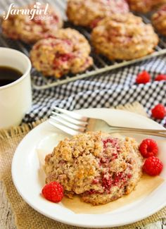 Whole Wheat Raspberry Drop Scones