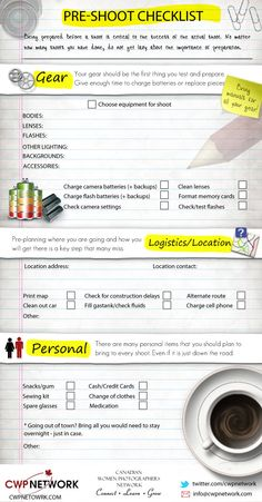 Photography Pre-Shoot Checklist infographic