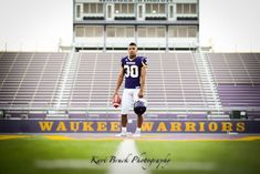 Kari Bruck Photography 2015 high school senior session pose idea for football players. High school senior boy inspiration for posing for football. Senior Pictures in a guy in his full football uniform in front of stadium. Sports or Sport pictures. Football Senior Photos, Soccer Senior Pictures, Football Poses, Senior Guys, Football Pictures, Sports Pictures, Football Players, Senior Year, Cheer Pictures