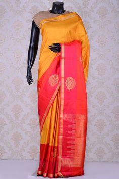 Sunset yellow beautiful kanchipuram silk saree with pink border-SR15444 - Pure…