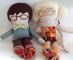 Had one of these made for my sweet Greer!!  Can't wait to get her! Handmade dolls with patches and glasses! | little four eyes