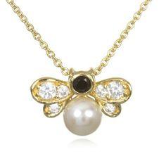 "Gold Tone White Pearl Bee Pendant-18"" CHELINE. $35.00"