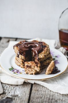 Whip up a stack of Vegan + Gluten-Free Oatmeal Chocolate Chip Cookie Pancakes for breakfast with this recipe.