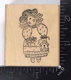 Stampington And Co Wooden Rubber Stamp Umbrella Girls Postage Stamp