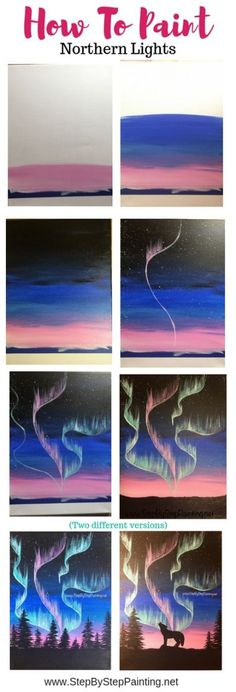How to Paint Easy Northern Lights - Step By Step Painting tutorial How to Paint Aurora Skyline Cute Canvas Paintings, Easy Canvas Painting, Simple Acrylic Paintings, Acrylic Painting Tutorials, Diy Canvas Art, Easy Paintings, Light Painting, Diy Painting, Painting Northern Lights