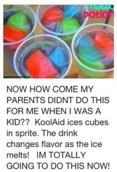 Babysitting ideas / ideas for me haha kool-aid ice cubes Kool Aid, Comida Diy, Little Muffins, Party Hard, Party Fun, Kid Drinks, Beverages, Frozen Drinks, Party Drinks