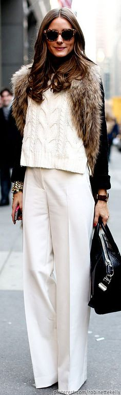 Olivia Palermo. High waist pants. I also like the jacket and sweater