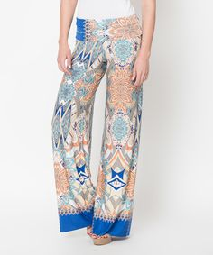 Look what I found on #zulily! Caralase Blue & Orange Abstract Palazzo Pants by Caralase #zulilyfinds