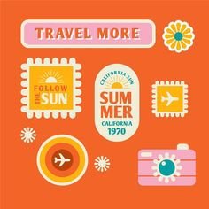 Travel sticker collection in style Vintage Stickers, Cute Stickers, Graphic Design Typography, Branding Design, Logo Design, Graphic Design Print, 70s Fashion, Graphic Design Inspiration, Layout
