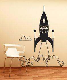 Vinyl Wall Decal Sticker Rocket Ship Take Off #OS_DC653 | Stickerbrand wall art decals, wall graphics and wall murals.
