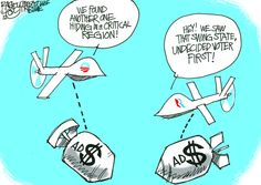 """""""Campaign Drones On""""  This Pat Bagley editorial cartoon appears in The Salt Lake Tribune on Tuesday, Oct. 9, 2012."""