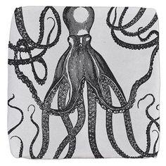 Black Exquisite Ancient Octopus Cube Ottoman