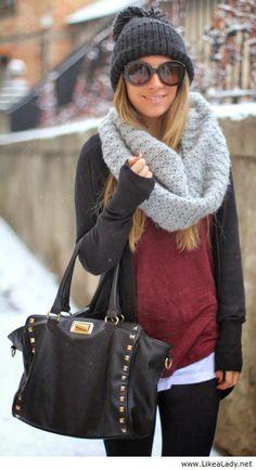 Dark cardigan, grey scarf, woollen cap with skinnies and handbag