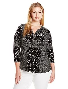 Lucky Brand Womens Plus Size Placed Ditsy Print Top BlackMulti 1X ** You can find out more details at the link of the image.Note:It is affiliate link to Amazon.