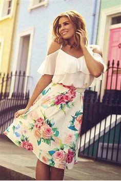 Jessica Wright Louiza Cream Floral Print Skater Skirt