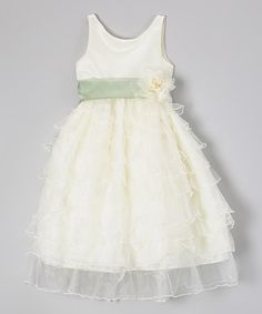 Ivory Ruffle Tier Flower Dress - Girls by Princess Diaries #zulily #ad *so pretty