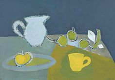 "stilllifequickheart: "" Keith Vaughan Still Life with Greengages and Yellow Cup 1950 """