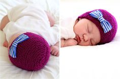 TUTORIAL/PATTERN: Knitted Newborn Hat with fabric bow | MADE