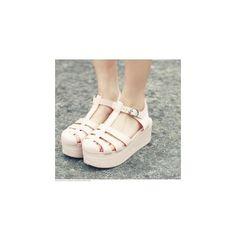 T-Strap Jelly Platform Sandals ($37) ❤ liked on Polyvore