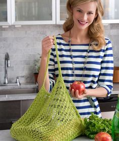 Lacy Knit Market Bag Free Pattern. Keep this roomy bag handy for shopping or when travelling. Knit it in a bright color as shown, or any color you wish. This is a great gift idea and a simple way to encourage ecology. Skill Level: Easy Knitting Stitches: Mesh Lace Free Pattern