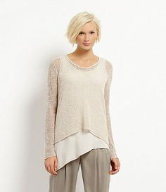 Eileen Fisher Leather-Trimmed Mélange Top