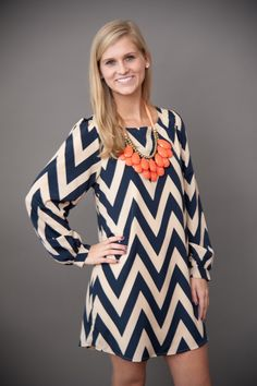 EVERLY: Sea Island Happy Days Chevron Tunic-Navy
