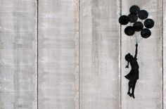 Created in 2005, the image of a little girl with balloons attempting to float over the West Bank barrier wall that separates the Palestinian territories from Israel has become one of Banksy's most iconic stencil works.