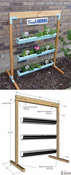 Herb Gardening 5 DIY Hanging Gutter Planter and Stand - Vertical garden ideas are various garden designs that incorporate modern and old fashioned indoor and outdoor set up. It is also a perfect solution for just about any garden struc Jardin Vertical Diy, Vertical Garden Diy, Vertical Gardens, Vertical Farming, Vertical Planter, Outdoor Planters, Outdoor Gardens, Indoor Outdoor, Indoor Herbs
