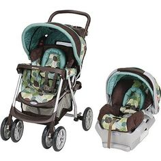 Blue Brown and Green baby carseat and stroller set