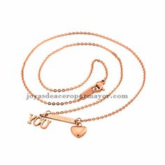 Collar fina con dije de love u en color oro rosado para mujeres-SSNEG571478