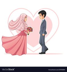 Illustration about Muslim bride and groom looking at each other cartoon character design, isolated on white background, vector clip art illustration. Illustration of cover, background, design - 137991760