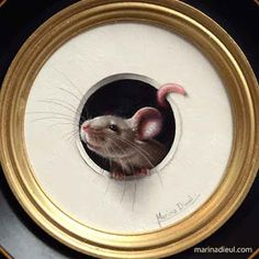 """Marina Dieul: Little mouse's favorite game What is a mouse's favorite game? Hide and squeak! Oil painting, 4"""" diameter, ( 7"""" with the frame) available."""