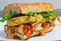 Fried Green Tomato and Shrimp Remoulade Po Boy  https://www.facebook.com/photo.php?fbid=496054413812208=a.267108043373514.65579.112632188821101=1
