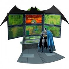 No one has super-cool gadgets like Batman does, and the massive Batcomputer is one of his most important crime-stopping tools. This fold-out Batman Centerpiece brings the Batcomputer to your tabletop with vivid images of computer screens and buttons. Batman's Villain Alert screen features The Joker, Mr. Freeze, Killer Croc, Two-Face, The Penguin, and The Riddler. Change characters by turning the wheel behind the Bat Symbol.