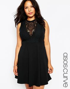 "Plus-size dress by ASOS CURVE Cotton fabric Lace bib detail Round neckline Regular fit - true to size Machine wash 100% Cotton Our model wears a UK 18/EU 46/US 14 and is 178cm/5'10"" tall"