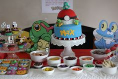 Pokemon party food Bird Birthday Parties, Birthday Bash, Birthday Ideas, Childrens Party, Pokemon Party, Pokemon Birthday, Party Food Table Ideas, Food Ideas, Party Ideas