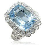 Large Aquamarine and Diamond Ring in 18K White Gold size 7 Large Aquamarine and Diamond Ring in