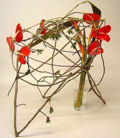 Abstract Anthuriums Phil Rullado Tropical Floral Arrangements, Unique Flower Arrangements, Ikebana Flower Arrangement, Ikebana Arrangements, Unique Flowers, Floral Centerpieces, Beautiful Flowers, Abstract Designs, Floral Designs