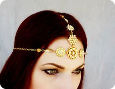 Tikka Gold Art Deco Rhinestone Gypsy Indian by RoseoftheMire, $168.00