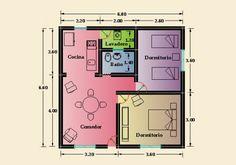 Constructora Sol del Plata – Viviendas Prefabricadas – Construcción de Casas |   2 Dormitorios 2 Bedroom House Plans, My House Plans, Small House Plans, Shed Plans, House Floor Plans, Home Design Plans, Plan Design, Simple House Design, Apartment Plans