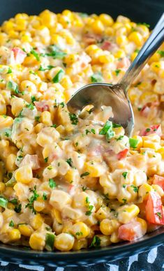 Every Thanksgiving my husband begs for this Spicy Southern Hot Corn Dip! This sassy Southern-style recipe has been part of our holiday meal tradition for years and doubles as a side dish AND a dip! Side Dish Recipes, Veggie Recipes, Mexican Food Recipes, Vegetarian Recipes, Cooking Recipes, Thai Recipes, Soul Food Recipes, Canned Corn Recipes, Cajun Recipes