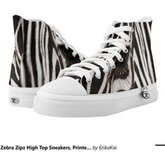 Zebra Zipz High Top Sneakers, Printed Shoes (170 BGN) ❤ liked on Polyvore featuring shoes, sneakers, zebra, zebra high top sneakers, zebra sneakers, zipz shoes, zipz and hi tops