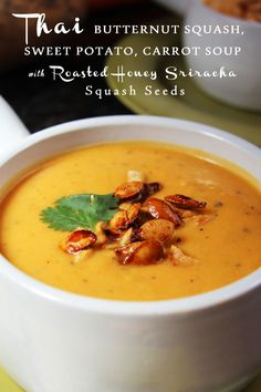 Thai Butternut Squash, Sweet Potato, Carrot Soup with Roasted Honey Sriracha Squash Seeds - mega creamy (without cream), with red curry, ginger, coconut milk, and sriracha - INCREDIBLE!!!  | Carlsbad Cravings