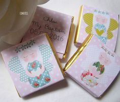 Personalised Chocolate Favours Christening Baptism  Angel Girl Pack of 25
